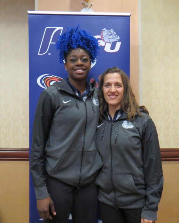 Oct. 18, 2017 (LAS VEGAS) - Gonzaga's Zykera Rice and head coach Lisa Fortier.