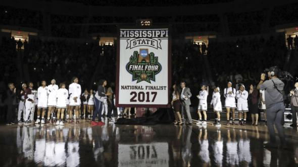 Nov. 10, 2017 - Mississippi State raises 2017 National Finaslist Banner. Photo: Mississippi State Athletics.