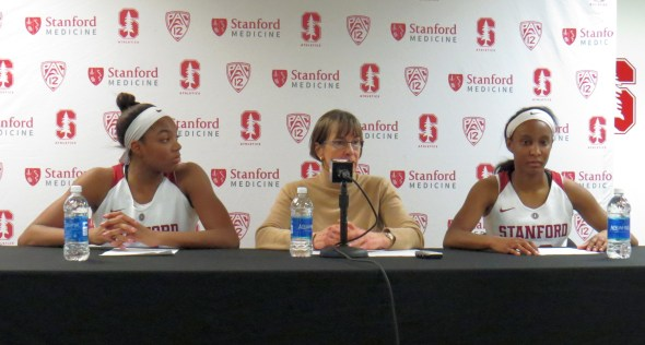 Dec. 16, 2017 (Stanford, CA) -- Maya Dodson and Kiana Williams with head coach Tara VanDerveer postgame.