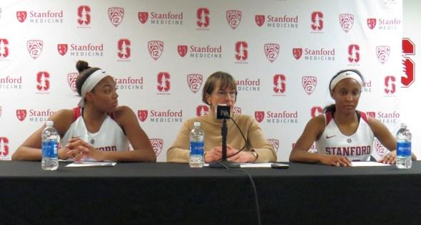 Dec. 16, 2017 (Stanford, CA) -- Maya Dodson and Kiana Williams with head coach Tara VanDerveer postgame.