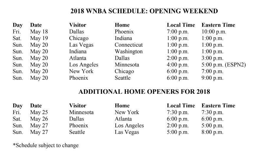 The 2018 WNBA season kicks off Friday, May 18