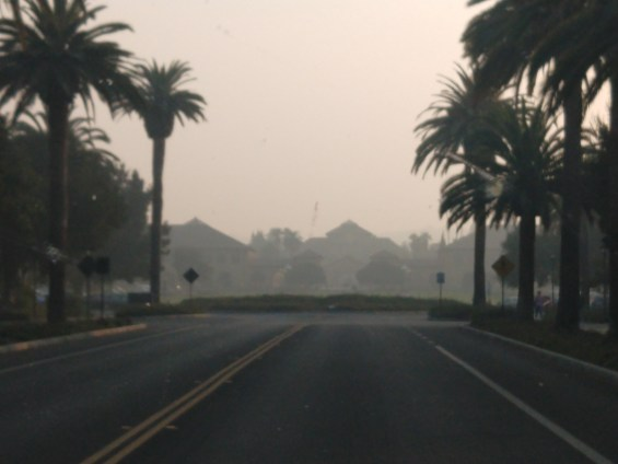 """Hazy view of the Stanford oval late Thursday afternoon when the air quality was rated """"unhealthy."""" It worsened Thursday night."""