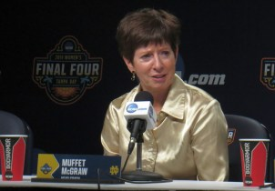 April 5, 2019 (Tampa, Fla.) - Notre Dame coach talks to media after the Irish defeated UConn in the Final Four.