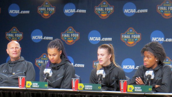April 4, 2019 (Tampa, Fla.)- Oregon coach Kelly Graves, Satou Sabally, Sabrina Ionescu and Ruthy Hebard.
