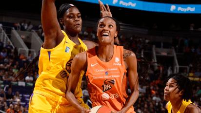 June 14, 2019 (Phoenix, AZ) - Los Angeles center Kalani Brown and Phoenix forward DeWanna Bonner. Photo: NBAE/Getty Images.