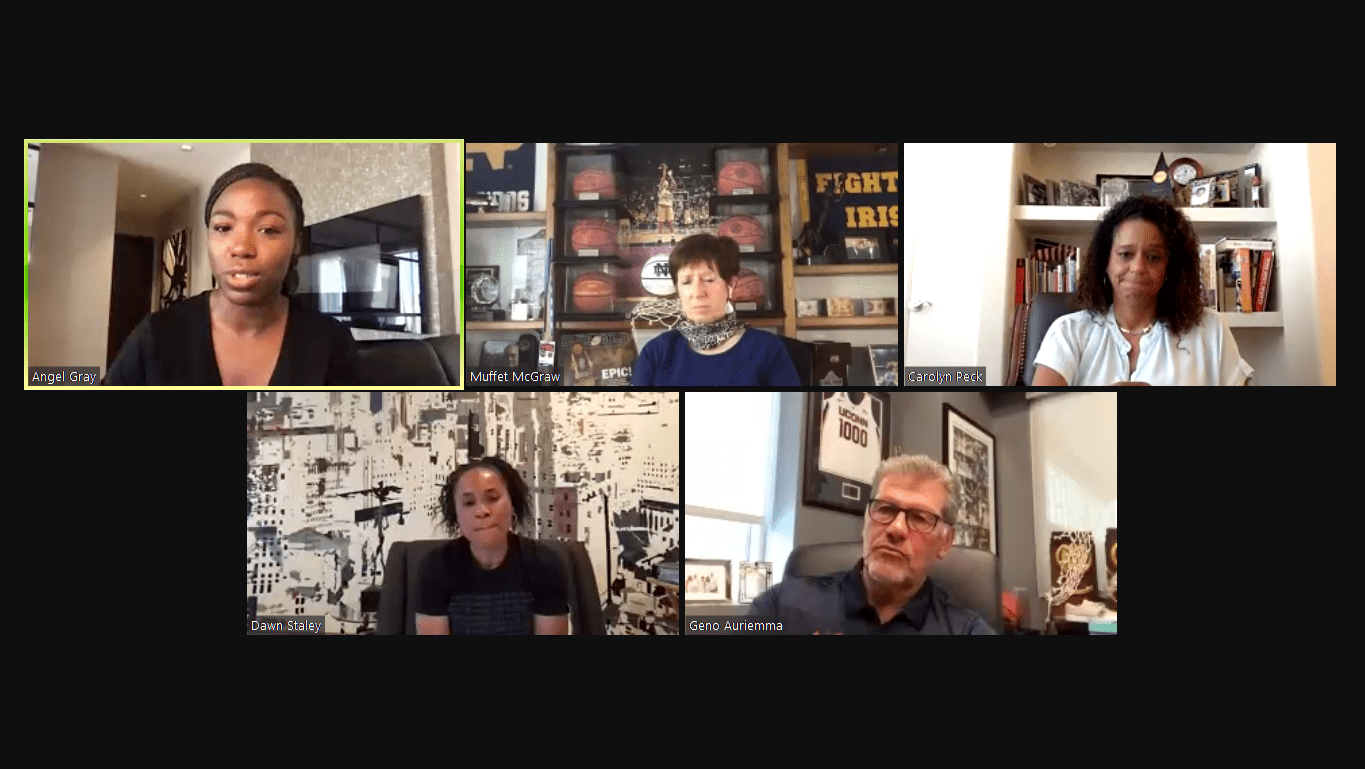Dawn Staley, Carolyn Peck, Muffet McGraw and Geno Auriemma discuss racism and inequality during virtual panel