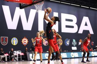 A'ja Wilson #22 of the Las Vegas Aces shoots the ball against the Atlanta Dream on September 5, 2020 at Feld Entertainment Center in Palmetto, Florida. (Photo by Ned Dishman/NBAE via Getty Images)