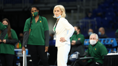 SAN ANTONIO, TX - MARCH 29: Baylor head coach Kim Mulkey, Baylor vs. UConn in the Elite Eight round of the 2021 NCAA Women's Basketball Tournament at Alamodome on March 29, 2021. (Photo by C. Morgan Engel/NCAA Photos via Getty Images)