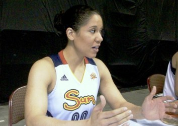 Kara Lawson answers a question at Connecticut Sun Media Day.