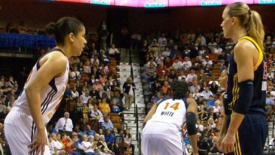 Kara Lawson defends Katie Douglas in the Sun's game one victory over the Fever.