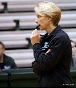 Tulane head coach Lisa Stockton watches her team practice. Photo © Cheryl Vorhis, all rights reserved.
