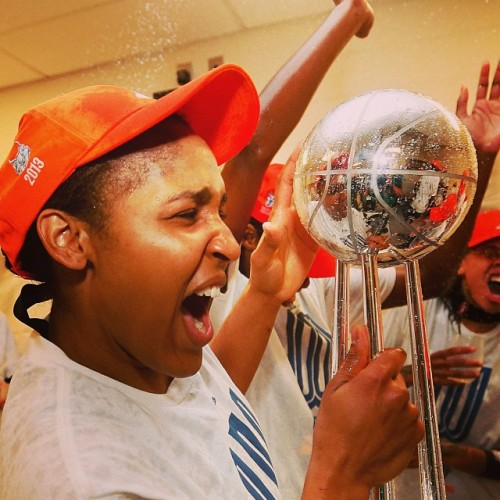Maya Moore with the 2013 WNBA Championship trophy. Photo: Instagram.com/MinnesotaLynx.