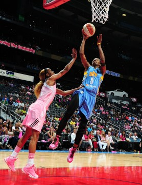 ATLANTA, GA -AUGUST 24: Swin Cash #8 of the Chicago Sky shoots against the Atlanta Dream at Philips Arena on August 24 2013 in Atlanta, Georgia. Photo: Scott Cunningham/NBAE via Getty Images