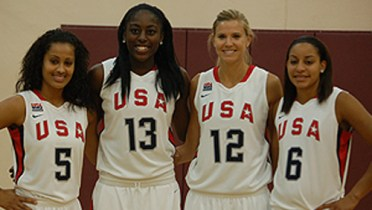 Skylar Diggins (5), Chiney Ogwumike (13), Ann Strothers (12) and Bria Hartley (6) will represent the USA at the Aug. 23-26 FIBA 3x3 World Championship in Athens, Greece. Photo: USA Basketball.