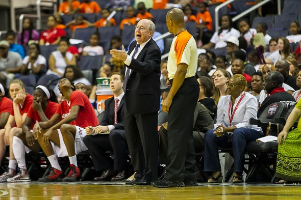 WASHINGTON (July 24) - Washington Mystics head coach Mike Thibault shows his displeasure with a call during this 2013 WNBA game between the Washington and Chicago at the Verizon Center in Washington, DC.  The Mystics won 82-78.  Photo © Mark W. Sutton, all rights reserved.
