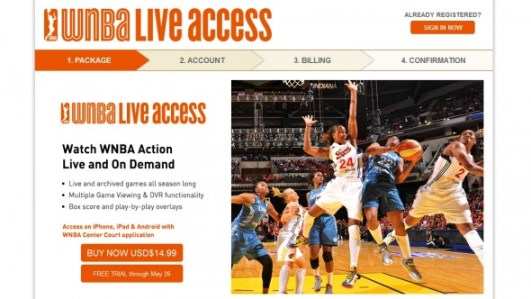 The WNBA's splash page image for the 2013 subscription to LiveAccess.