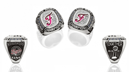 Indiana Fever 2012 WNBA Championship ring design. Photo courtesy Herff Jones.