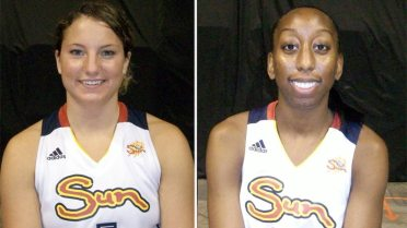 Kelsey Griffin and Allison Hightower during Connecticut Sun media day.