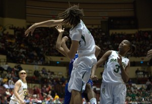 Griner blocking a shot during the Big 12 tournament in 2011. Photo: Cheryl Vorhis, all rights reserved.