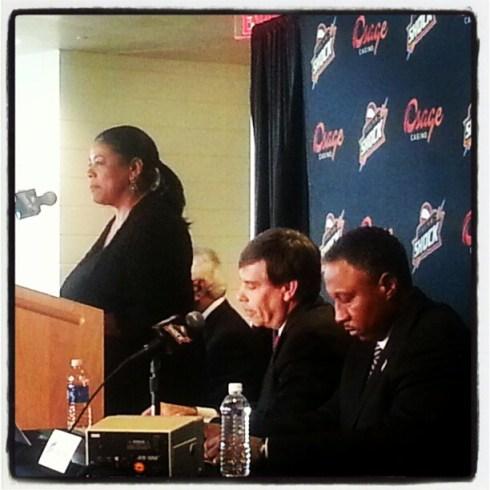 WNBA president Laurel Richie speaks during the Tulsa Shock-Osage Casino partnership announcement. Photo: Instagram.