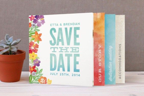 Tropical Date minibook, unique tabbed format with chic grommet binding