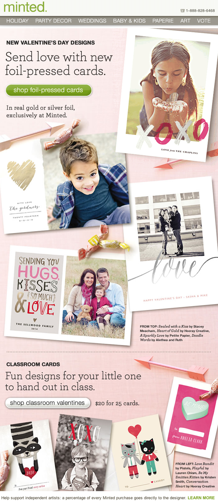 Foil-presed Valentine's Day Photo Cards
