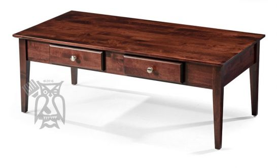solid alder wood shaker 48 coffee table with drawers in rich cherry finish