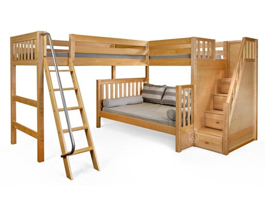 solid wood framed triathlon twin over full bunk bed with twin loft bed staircase ladder system in natural finish