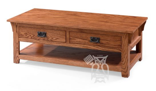 california made oak wood mission coffee table with drawers and shelf in cherry oak finish