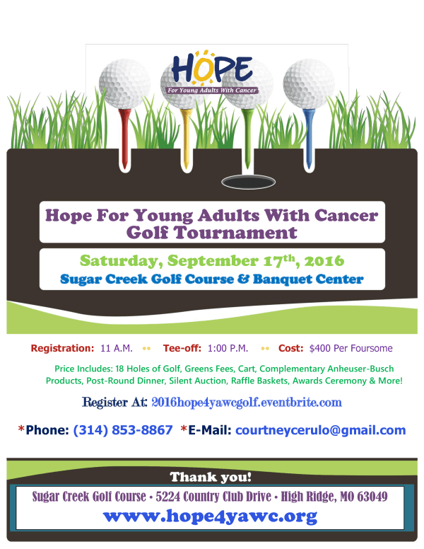 Hope4YAWC Golf Tournamet Flyer 2016