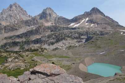 Schoolroom Glacier's lake and the Tetons