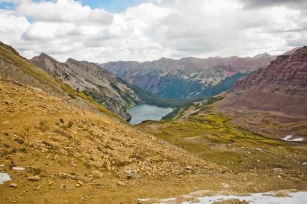 Climbing higher above Snowmass Lake