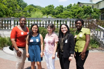 Meet our interns: From the left: Janelle Anderson, Clair Beltran, Natasha Pena, Shirley Urena, and Nana Amponsah!