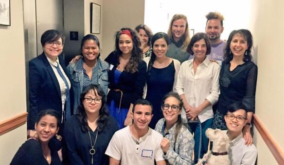 Front row (from left to right): Semhal Gessesse (2015 Fellow), Kayla Madridejos (2016 Fellow), Albert Cohen Shaluha (2016 Fellow), Rachel Ben Heim (Board Member), Wally (Mascot), Ben Joson (2012 Fellow); Second Row: Daniela Quiroz (Chair of the Advisory Board), Clair Beltran (2013 Fellow), Rosy Tavares (2016 Fellow), Amanda Morales (2016 Fellow), Ellen Meyers, Sanda Balaban (Board Member); Last Row: Ellen Fried (Board Member), Ezra Lowrey (Program Manager), Christian Sanoguel (2014 Fellow)