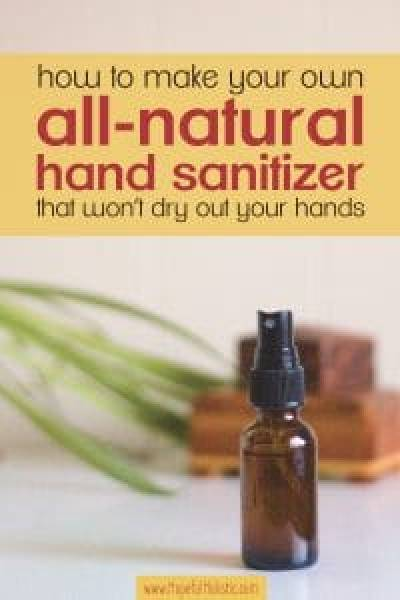 homemade 2oz spray bottle of natural hand sanitizer with text overlay- how to make your own hand sanitizer that won't dry out your hands