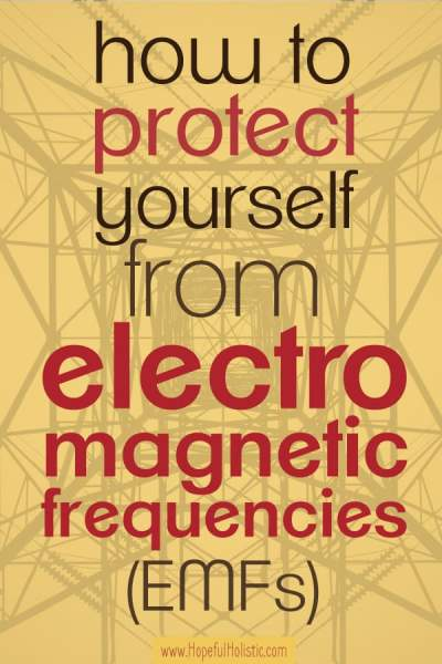 Cell phone tower background with text overlay- how to protect yourself from electromagnetic frequencies or EMFs