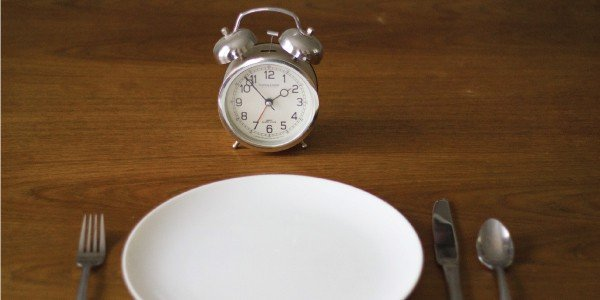 plate with utensils and alarm clock