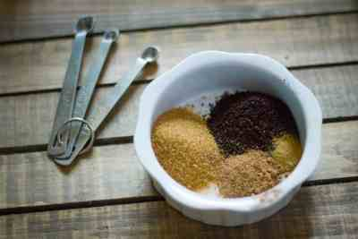 Pumpkin spice latte sugar scrub with measuring spoons