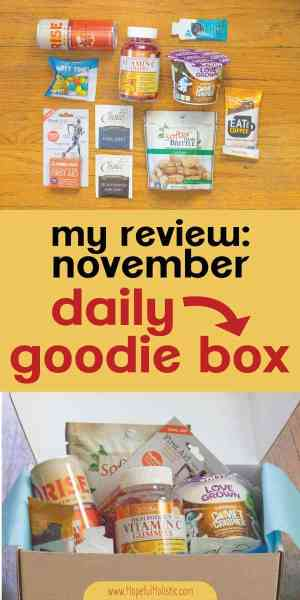 November daily goodie box products with text overlay- my review: november daily goodie box