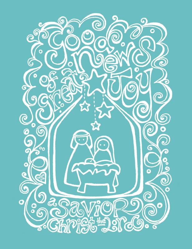 Aqua Christmas Nativity Art