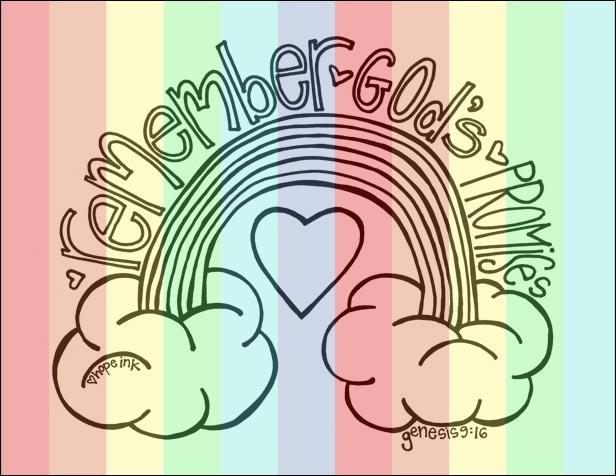 Rainbow Kid's Coloring Sheet God's Promises Scripture