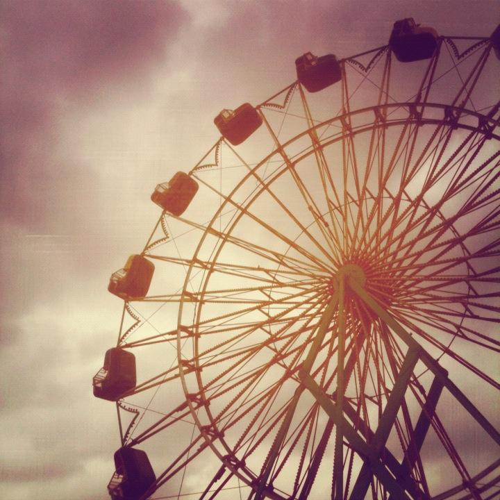 Ferris Wheel Cloudy Sky