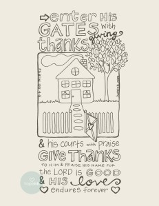 Thanksgiving House Hope Ink Coloring Printable