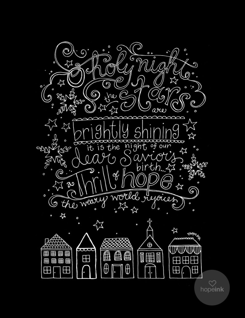 Christmas Chalk Art Holy Night Hymn