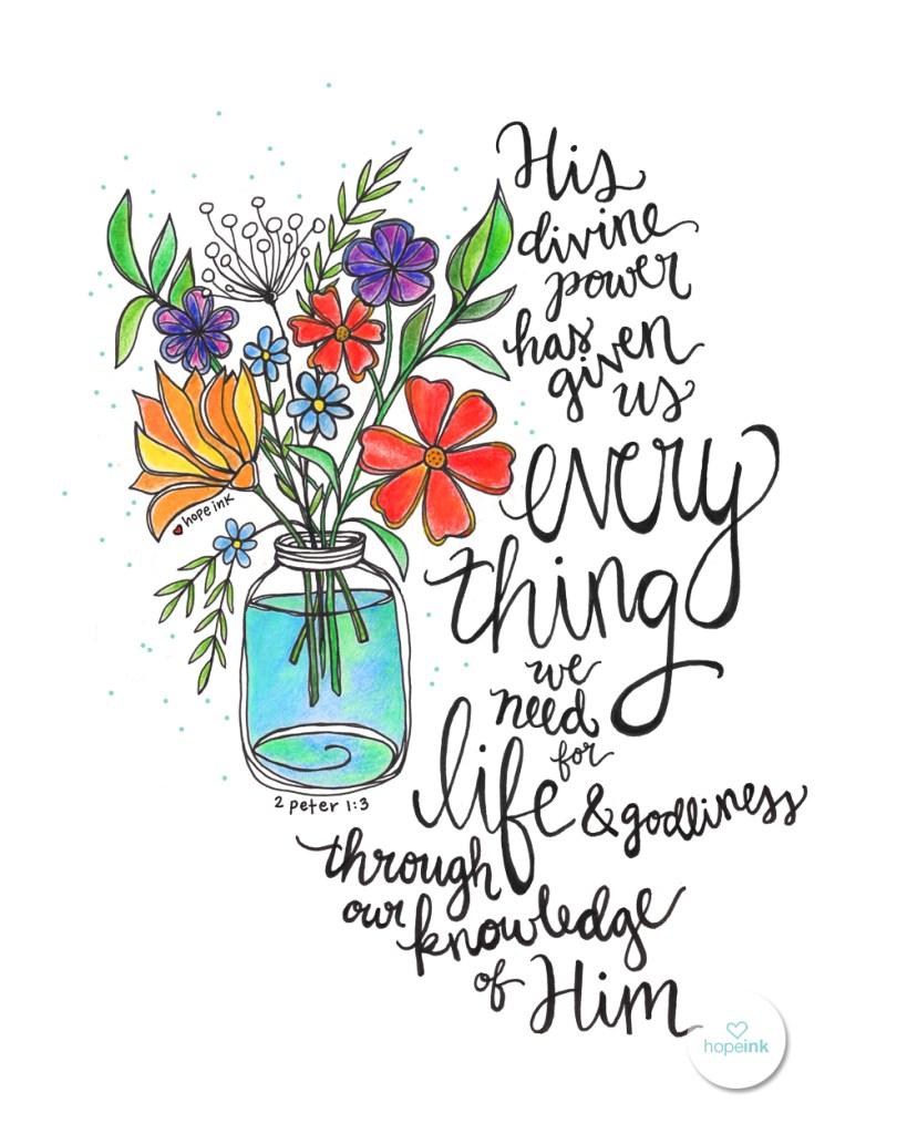Wildflower Scripture Art Hand Lettered HopeInk