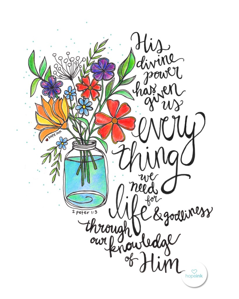Wildflower Scripture Art Hand Lettered HopeInk