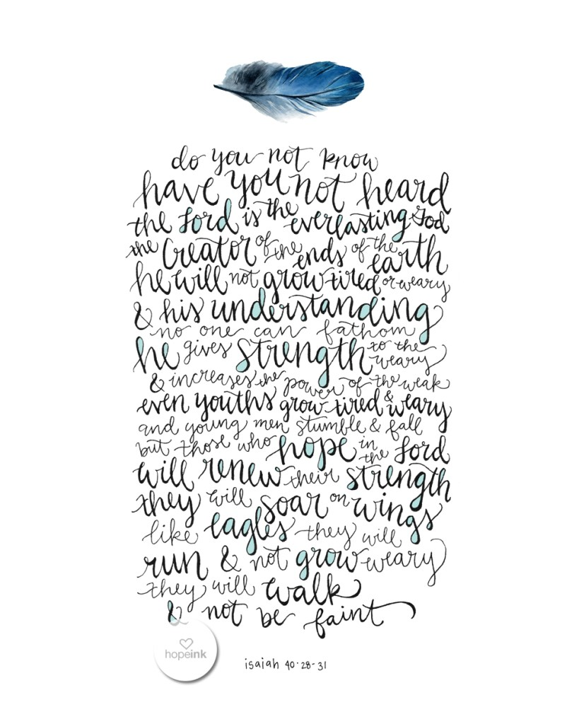 On Wings Like Eagles Hand Lettered Scripture Art Feather Hope Ink