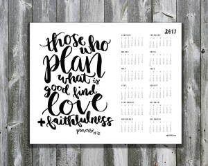 Free 2017 Printable Calendar Scripture Art Hope Ink