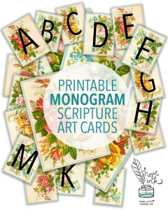 Printable Monogram Scripture Art Cards | Hope Ink