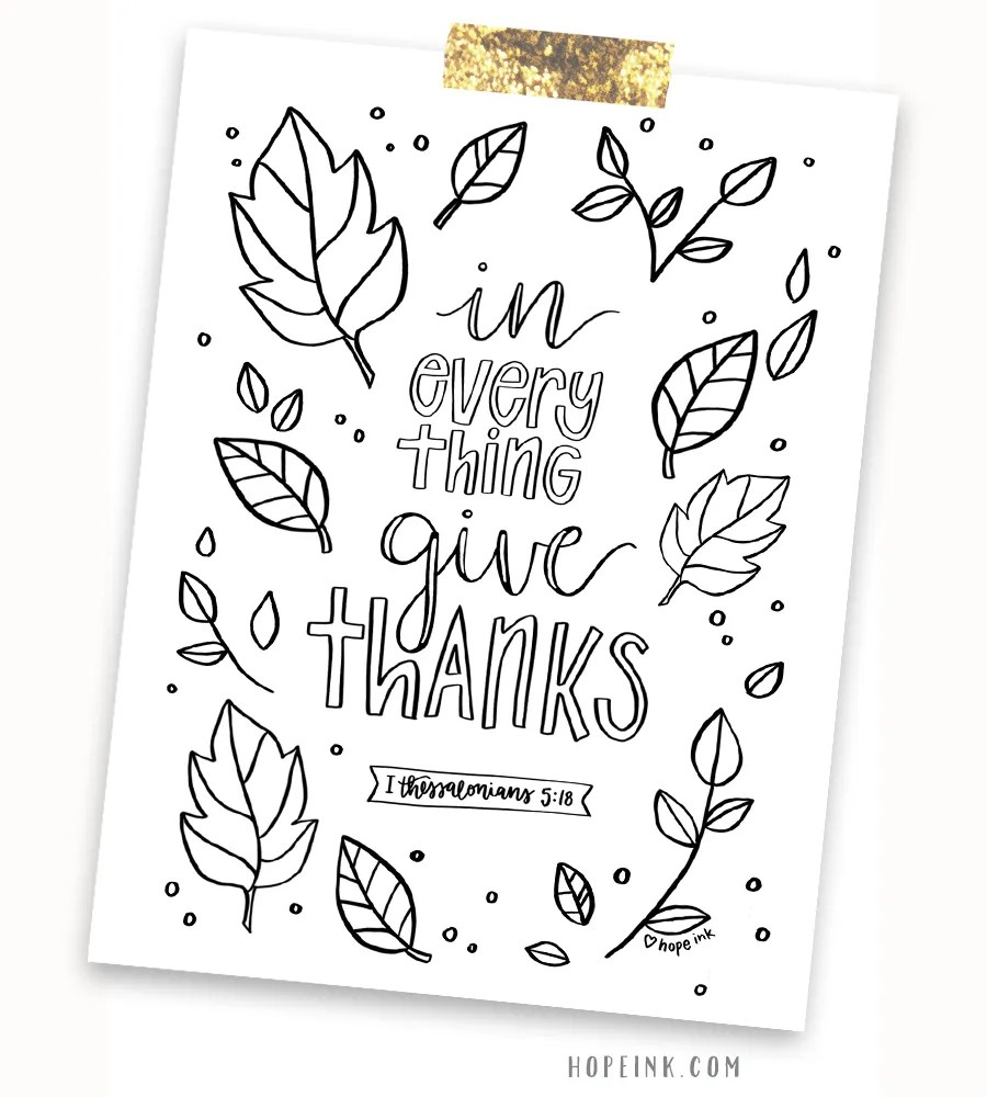 Free Thanksgiving Scripture Coloring Printable | Hope Ink